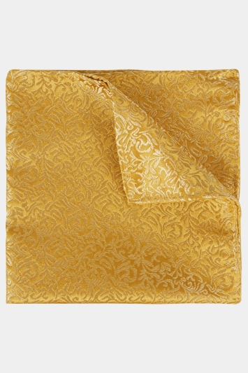 Moss 1851 Yellow Tonal Leaf Pattern Pocket Square