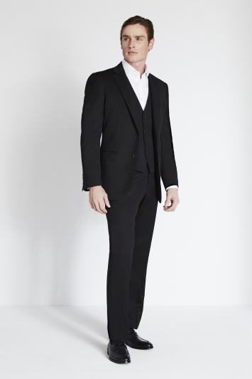 Savoy Taylors Guild Regular Fit Black Twill Jacket