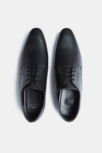Moss London Hartwood Black Plain Derby Shoe