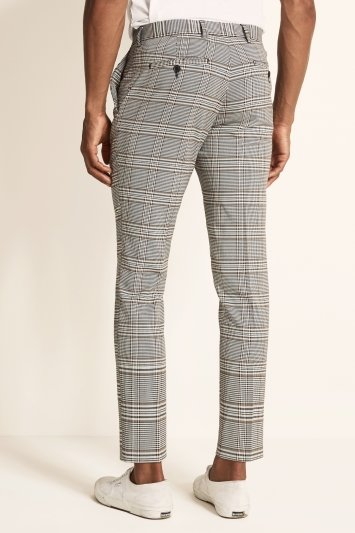 Slim Fit White Gold Check Trousers
