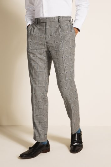 Moss London Slim Fit Grey with Blue Prince Of Wales Check Trouser