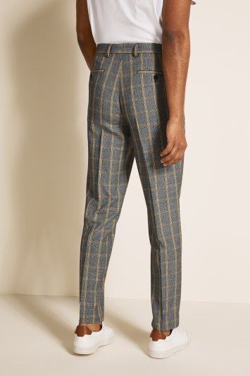 Moss London Slim Fit Black/ White with Yellow Bold Prince of Wales Trousers