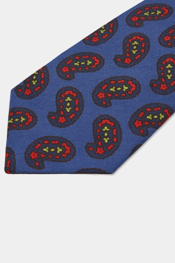 Savoy Taylors Guild Blue with Red & Green Paisley Print Silk Tie
