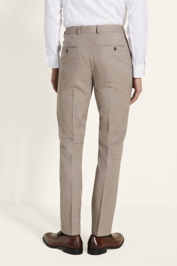 Moss London Slim Fit Neutral Lightweight Trousers
