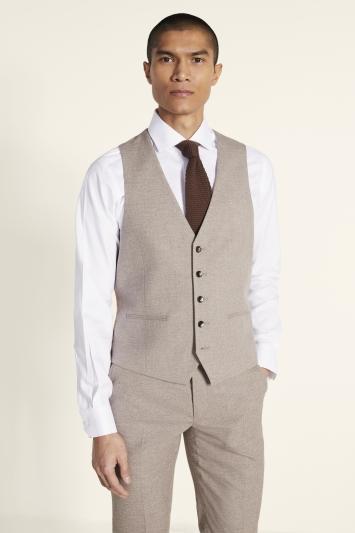 Moss London Slim Fit Neutral Lightweight Waistcoat