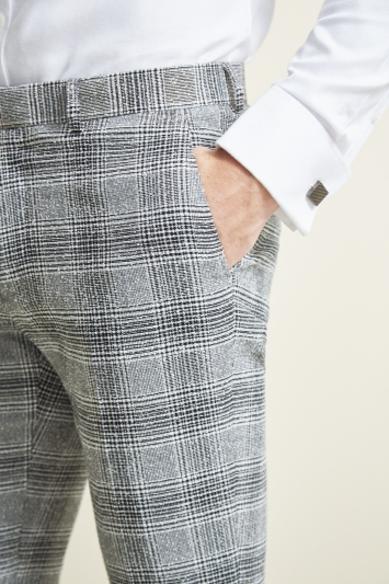 Moss London Slim Fit Black & White Check Trousers
