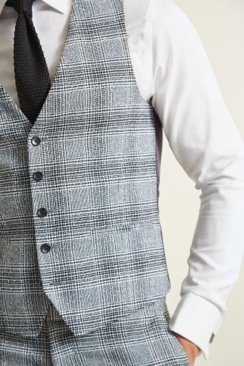 Moss London Slim Fit Black & White Check Waistcoat