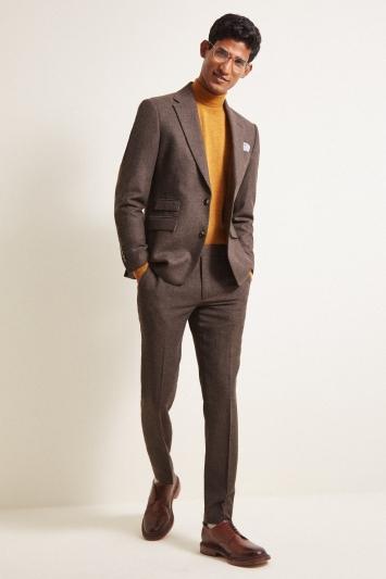 Moss London Slim fit Chocolate Herringbone Tweed Jacket