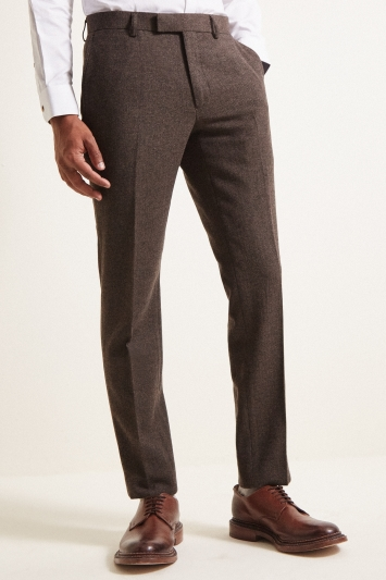 Moss London Slim Fit Chocolate Herringbone Tweed Trousers