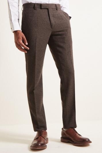 Moss London Slim Fit Chocolate Herringbone Tweed Trousers