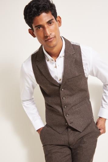 Moss London Slim Fit Chocolate Herringbone Tweed Waistcoat