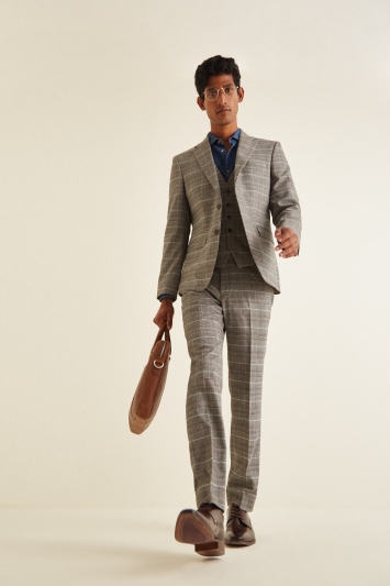Moss London Slim fit Grey Tan Check Jacket