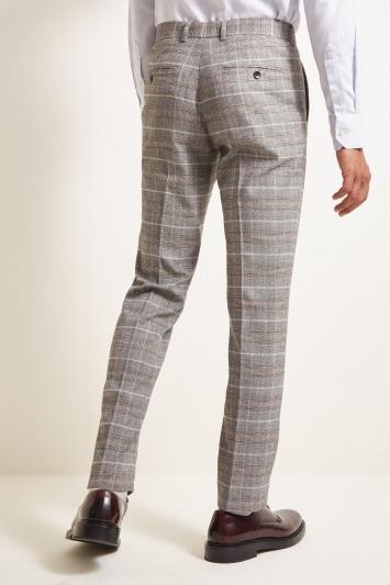 Moss London Slim Fit Grey Tan Check Trousers