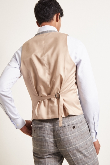 Moss London Slim Fit Grey Tan Check Waistcoat