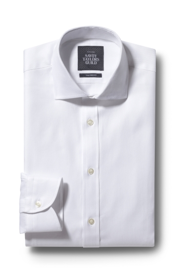 Savoy Taylors Guild Tailored Fit White Single Cuff Mini Chevron Shirt