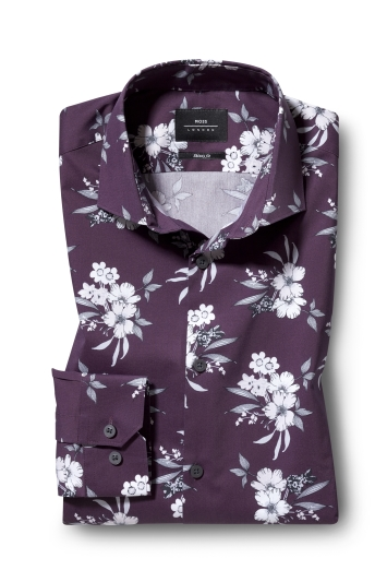 Moss London Skinny Fit Burgundy Single Cuff Floral Print Shirt