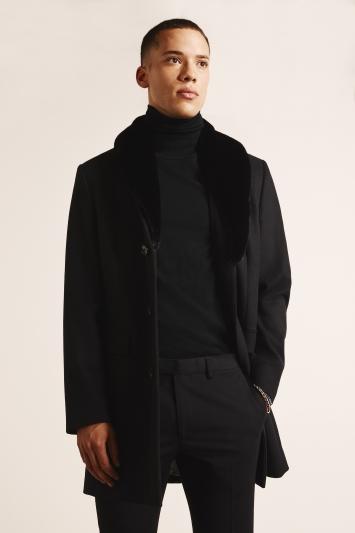 Moss London Slim Fit Black Overcoat with Detachable Faux Fur