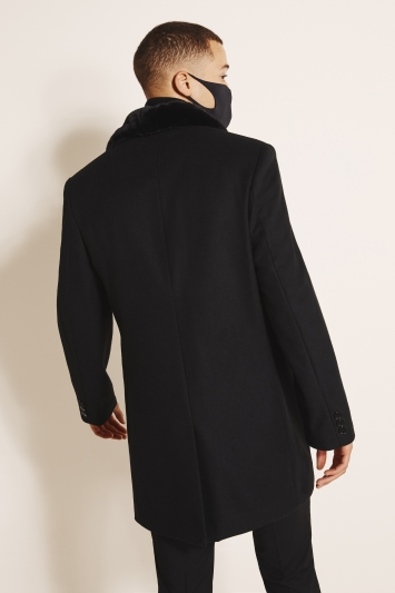 Moss London Slim Fit Black Overcoat with Detachable Faux Fur
