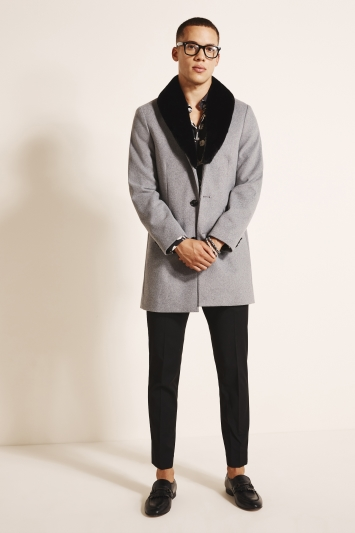 Moss London Slim Fit Grey Overcoat with Detachable Faux Fur