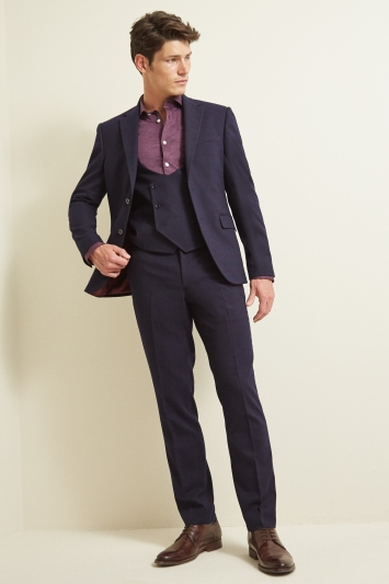 Moss London Slim Fit Navy Berry Check Jacket