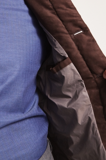 Moss 1851 Tailored Fit Chocolate Suedette Gilet