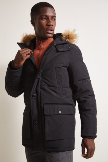 Moss London Slim Fit Black Arctic Parka Faux Fur Lined