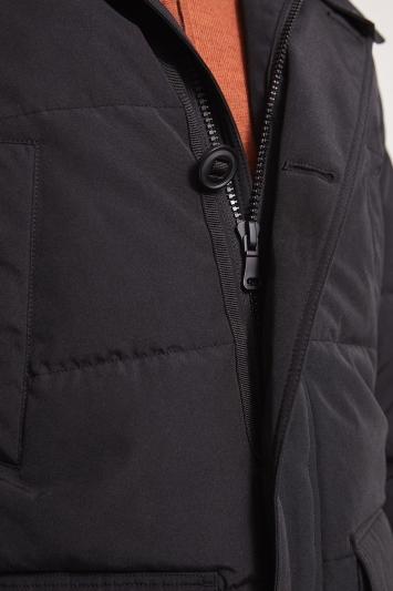Moss London Slim Fit Black Arctic Parka Faux Fur Lined