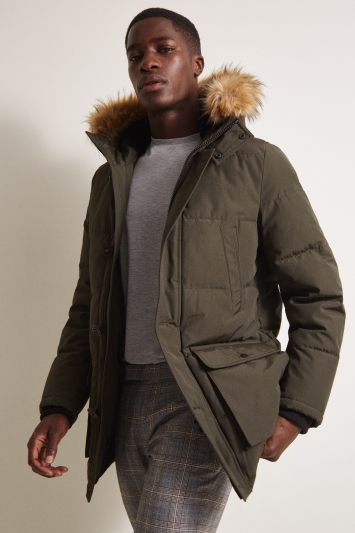Moss London Slim Fit Khaki Arctic Parka Faux Fur Lined