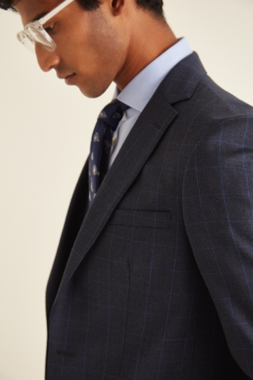 French Connection Slim Fit Navy Check Puppytooth Jacket