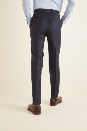 French Connection Slim Fit Navy Check Puppytooth Trousers
