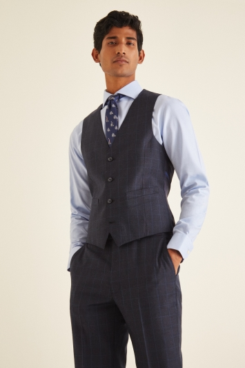 French Connection Slim Fit Navy Check Puppytooth Waistcoat