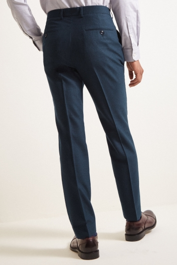 French Connection Slim Fit Teal Flannel Trousers