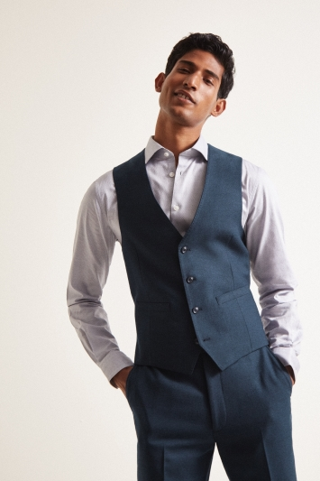 French Connection Slim Fit Teal Flannel Waistcoat