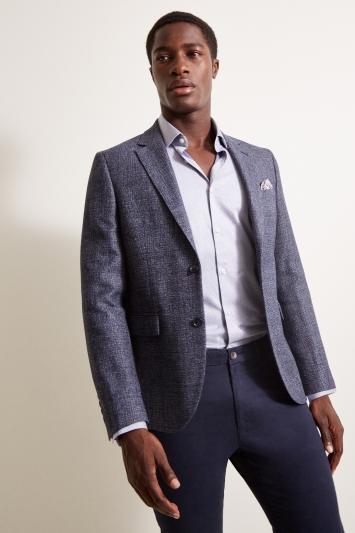 DKNY Slim Fit Faded Blue Texture Jacket