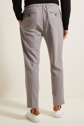 Moss London Slim Fit Grey Pinstripe with Drawstring Waist Cropped Trousers
