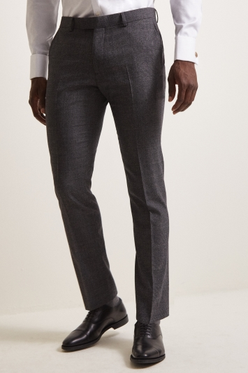 DKNY Slim Fit Charcoal Check Trousers