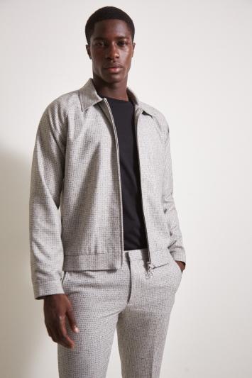 Moss London Slim Fit Light Grey Texture Bomber Jacket