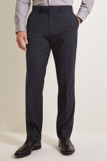 Moss Esquire Regular Fit Navy Prince of Wales Check Trousers