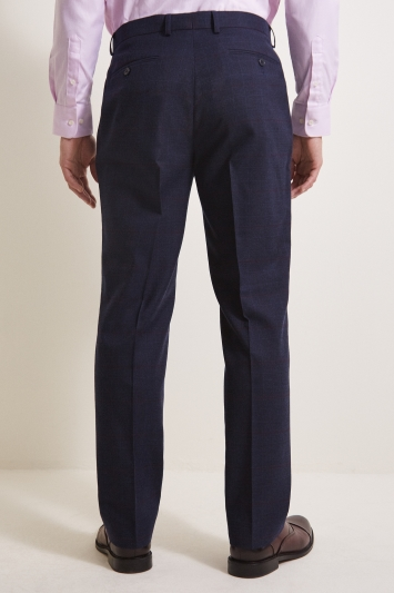 Moss Esq. Regular Fit Navy Red Check Trouser
