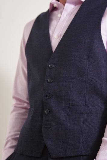 Moss Esq. Regular Fit Navy Red Check Waistcoat