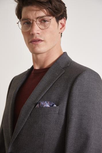 Moss Esq. Regular Fit Grey Birdseye Jacket