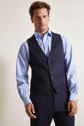 Moss Esq. Regular Fit Blue Birdseye Waistcoat