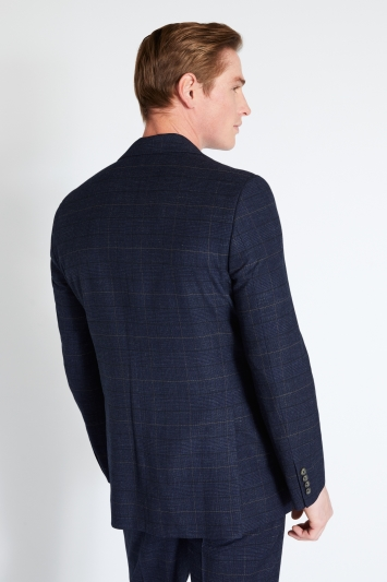 Moss 1851 Regular Fit Navy Black Check Jacket