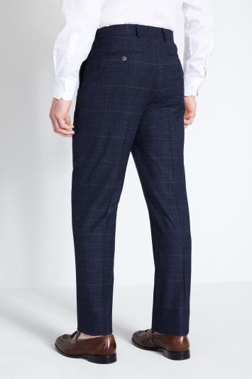 Moss 1851 Regular Fit Navy Black Check Trouser