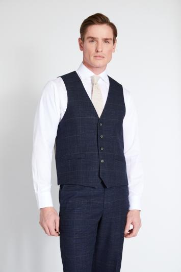 Moss 1851 Regular Fit Navy Black Check Waistcoat