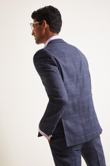 Moss London Slim Fit Indigo Blue Check Jacket