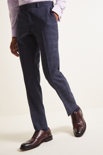 Moss London Slim Fit Indigo Blue Check Trouser