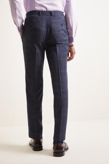 Moss London Slim Fit Indigo Blue Check Trouser