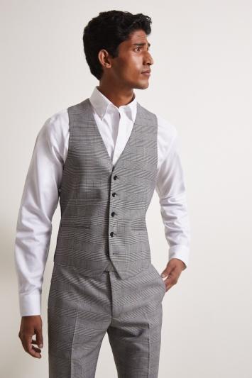 Moss London Slim Fit Black & White Glen Check Waistcoat