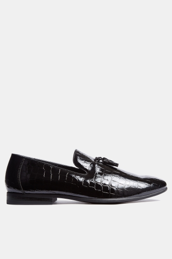 Moss London Marlow Black Patent Mock-Croc Tassel Slipper Shoes